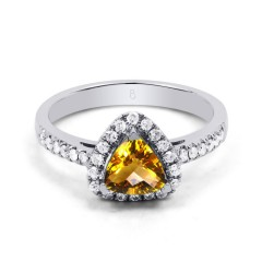 18ct White Gold Citrine & Diamond Trillion Engagement Ring 0.3ct 2.5mm image 0
