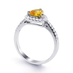 18ct White Gold Citrine & Diamond Trillion Engagement Ring 0.3ct 2.5mm image 1