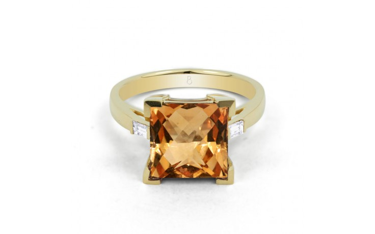 Citrine & Diamond Designer Gold Ring  product image 1