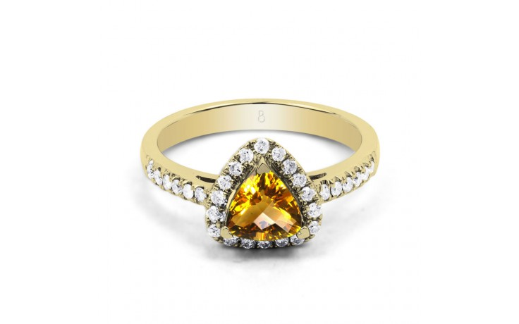 Citrine Trillion Yellow Gold Ring product image 1