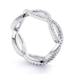 18ct White Gold Diamond Designer Full Eternity Ring 0.55ct 6mm  image 1