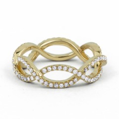 18ct Yellow Gold Diamond Designer Full Eternity Ring 0.55ct 6mm  image 0