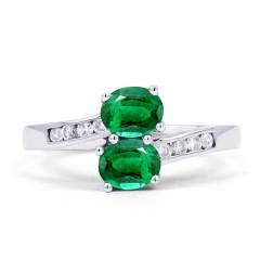 18ct White Gold Emerald & Diamond Twist Ring 0.12ct 2mm image 0