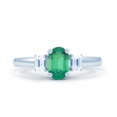 18ct White Gold Emerald & Diamond Gemstone Engagement Ring 0.32ct 2mm image 0