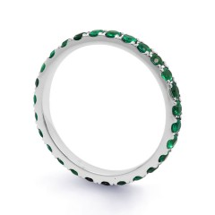 18ct White Gold Emerald Gemstone Eternity Ring 2.2mm image 1