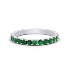 18ct White Gold Emerald Gemstone Eternity Ring 2.2mm image 0