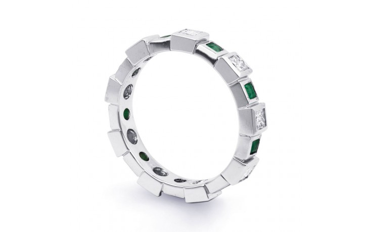 18ct White Gold Emerald & Diamond Designer Full Eternity Band 0.75ct 5mm product image 2