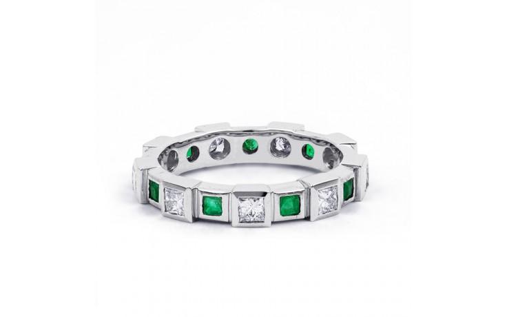18ct White Gold Emerald & Diamond Designer Full Eternity Band 0.75ct 5mm product image 1