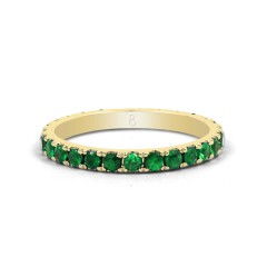 18ct Yellow Gold Emerald Gemstone Eternity Band 2.2mm image 0