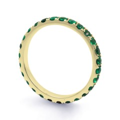18ct Yellow Gold Emerald Gemstone Eternity Band 2.2mm image 1