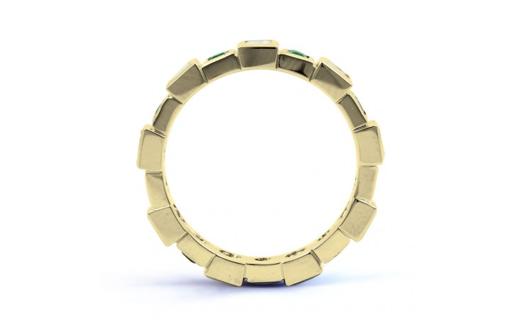 18ct Yellow Gold Emerald & Diamond Designer Full Eternity Band 0.75ct 5mm product image 3