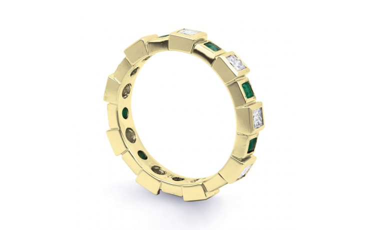 18ct Yellow Gold Emerald & Diamond Designer Full Eternity Band 0.75ct 5mm product image 2