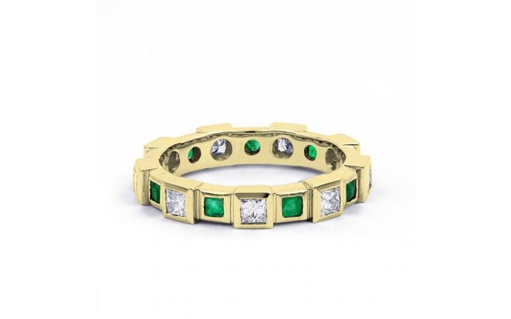 18ct Yellow Gold Emerald & Diamond Designer Full Eternity Band 0.75ct 5mm product image 1