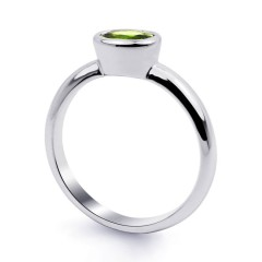 18ct White Gold Peridot Birthstone Engagement Ring 2.5mm image 1