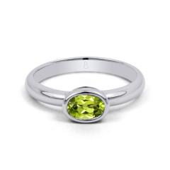 18ct White Gold Peridot Birthstone Engagement Ring 2.5mm image 0