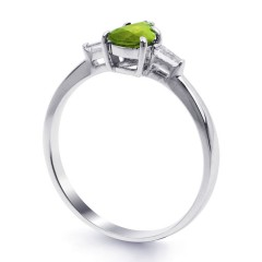18ct White Gold Peridot & Diamond Pear Engagement Ring 0.12ct 2.5mm image 1