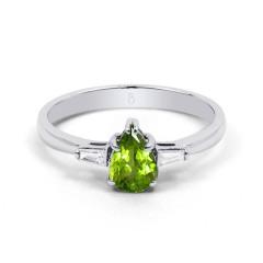 18ct White Gold Peridot & Diamond Pear Engagement Ring 0.12ct 2.5mm image 0
