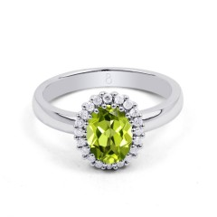 18ct White Gold Peridot & Diamond Halo Engagement Ring 0.16ct 2.5mm image 0