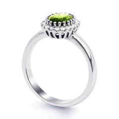 18ct White Gold Peridot & Diamond Halo Engagement Ring 0.16ct 2.5mm image 1