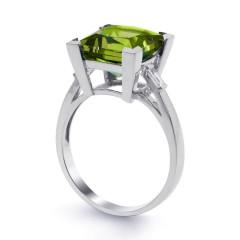 18ct White Gold Peridot & Diamond Cocktail Designer Ring 0.2ct 2.5mm image 1