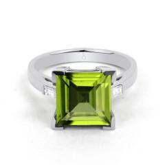 18ct White Gold Peridot & Diamond Cocktail Designer Ring 0.2ct 2.5mm image 0