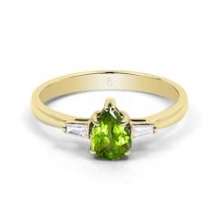 18ct Yellow Gold Peridot & Diamond Pear Engagement Ring 0.12ct 2.5mm image 0