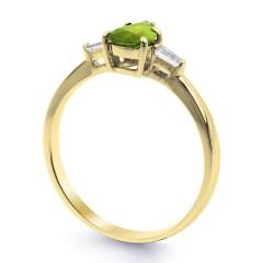 18ct Yellow Gold Peridot & Diamond Pear Engagement Ring 0.12ct 2.5mm image 1