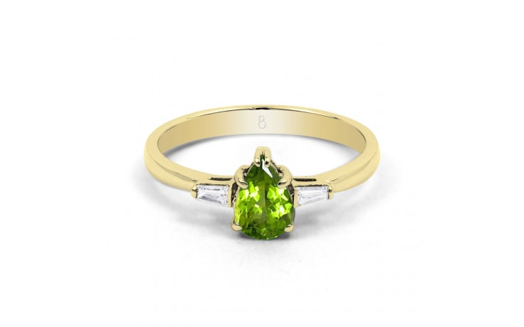 Peridot & Diamond Pear Gold Ring product image 1