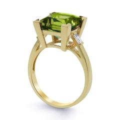 18ct Yellow Gold Peridot & Diamond Cocktail Designer Ring 0.2ct 2.5mm image 1