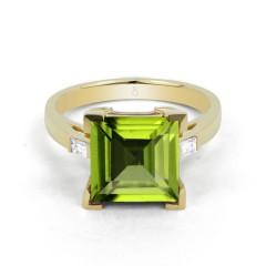 18ct Yellow Gold Peridot & Diamond Cocktail Designer Ring 0.2ct 2.5mm image 0