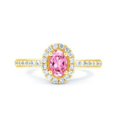 18ct Yellow Gold Pink Sapphire & Diamond Halo Engagement Ring 0.32ct 2mm image 0