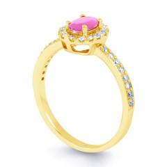18ct Yellow Gold Pink Sapphire & Diamond Halo Engagement Ring 0.32ct 2mm image 1