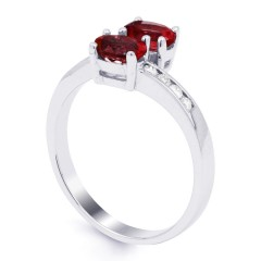 18ct White Gold Ruby & Diamond Crossover Ring 0.12ct 2mm image 1