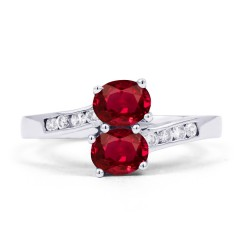 18ct White Gold Ruby & Diamond Crossover Ring 0.12ct 2mm image 0