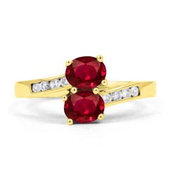 18ct Yellow Gold Ruby & Diamond Crossover Ring 0.12ct 2mm image 0