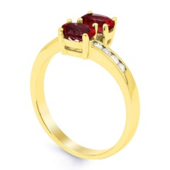 18ct Yellow Gold Ruby & Diamond Crossover Ring 0.12ct 2mm image 1