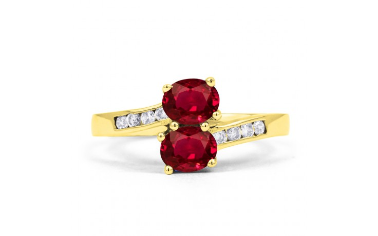 Ruby Crossover Gold Ring  product image 1