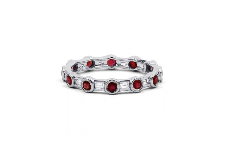 18ct White Gold Ruby & Diamond Full Eternity Ring Band 0.42ct 3mm product image 1