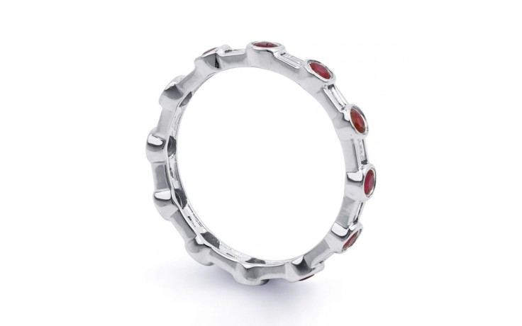 18ct White Gold Ruby & Diamond Full Eternity Ring Band 0.42ct 3mm product image 2