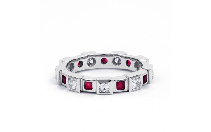 18ct White Gold Ruby & Diamond Designer Full Eternity Ring Band 0.75ct 5mm product image 1