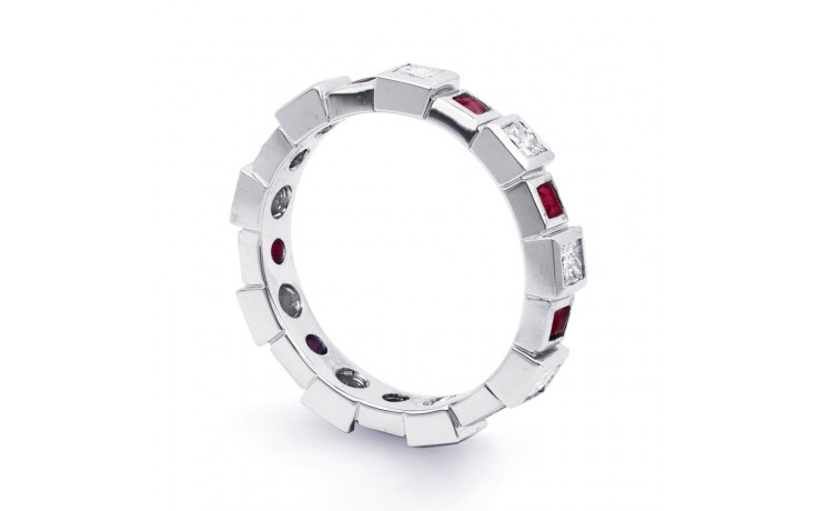 18ct White Gold Ruby & Diamond Designer Full Eternity Ring Band 0.75ct 5mm product image 2