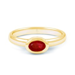 18ct Yellow Gold Ruby Birthstone Engagement Ring 2.5mm image 0