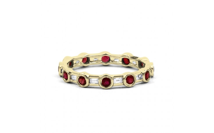 18ct Yellow Gold Ruby & Diamond Full Eternity Ring Band 0.42ct 3mm product image 1