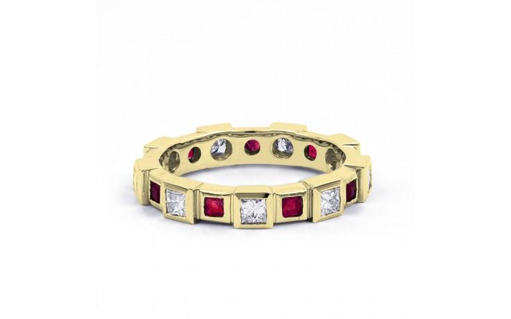 18ct Yellow Gold Ruby & Diamond Designer Full Eternity Ring Band 0.75ct 5mm product image 1