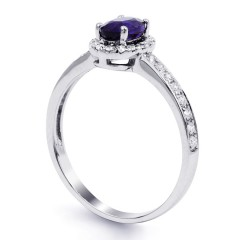 18ct White Gold Tanzanite & Diamond Halo Engagement Ring 0.32ct 2mm image 1