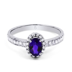 18ct White Gold Tanzanite & Diamond Halo Engagement Ring 0.32ct 2mm image 0