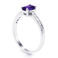 18ct White Gold Tanzanite & Diamond Engagement Ring Rectangle 0.22ct 2mm image 1