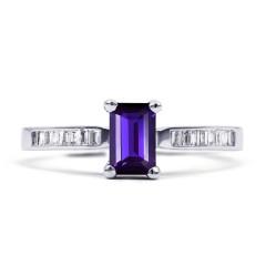 18ct White Gold Tanzanite & Diamond Engagement Ring Rectangle 0.22ct 2mm image 0