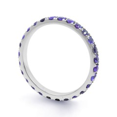 18ct White Gold Tanzanite Gemstone Eternity Band 2.2mm image 1