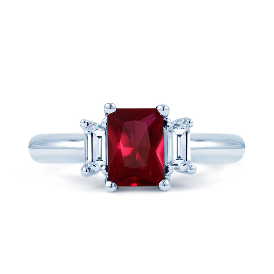 18ct white gold ruby diamond engagement ring emerald 022ct 25mm emerald ruby ring product image 1 aloadofball Image collections